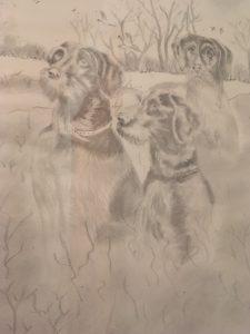 Le trio de chasse DURAND Maurice