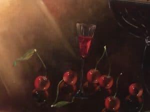 Les cerises et son verre à vin DURAND Maurice